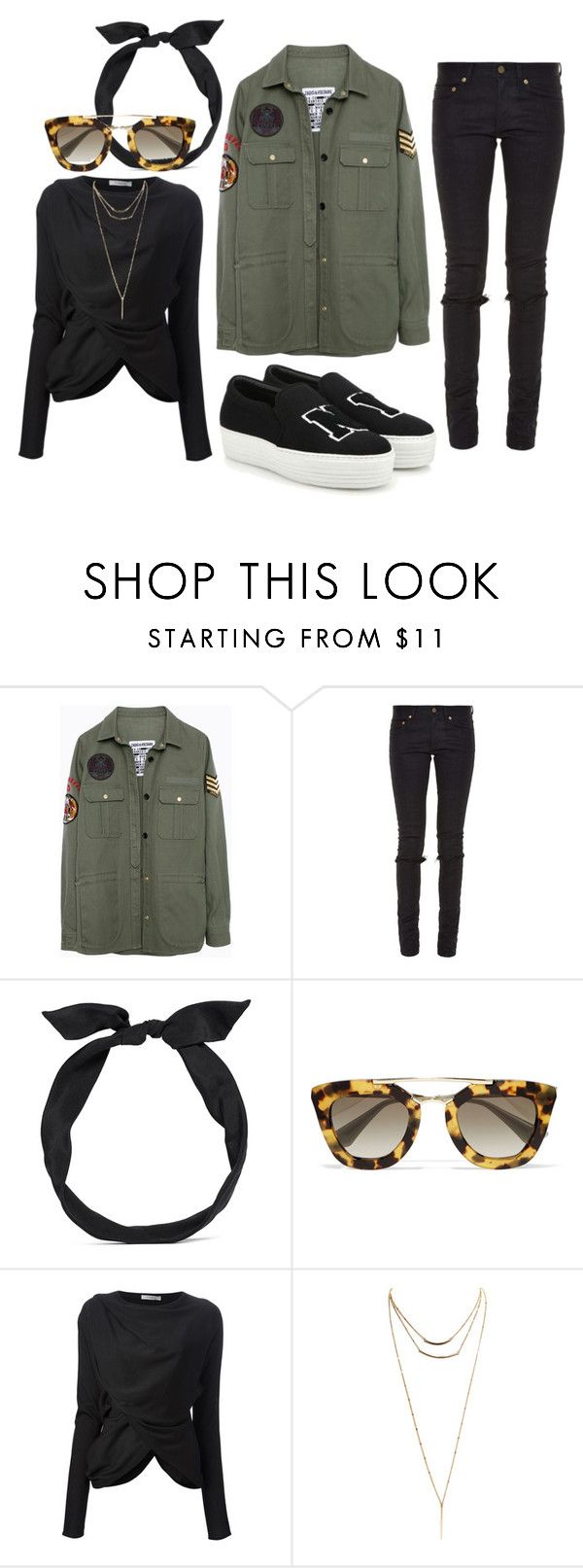 """""""Untitled #223"""" by fashiondisguise on Polyvore featuring Zadig & Voltaire, Yves Saint Laurent, yunotme, Prada, Givenchy, Wet Seal and Joshua's"""