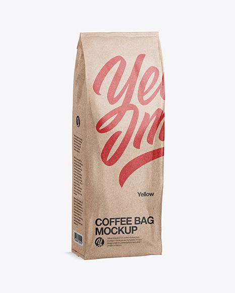 Download 500g Kraft Coffee Bag Mockup Half Side View In Pouch Mockups On Yellow Images Object Mockups Free Psd Mockups Templates Mockup Psd Psd Mockup Template