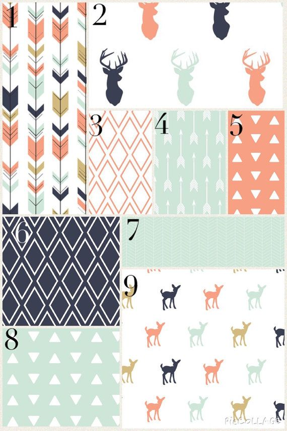 Custom Crib Bedding - Modern Woodland, Mint and Coral, Deer and Arrows