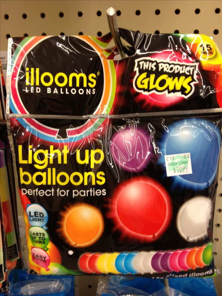 light up/glow in the dark balloons--Perfect for glow in the dark party! look at craft stores like Hobby Lobby