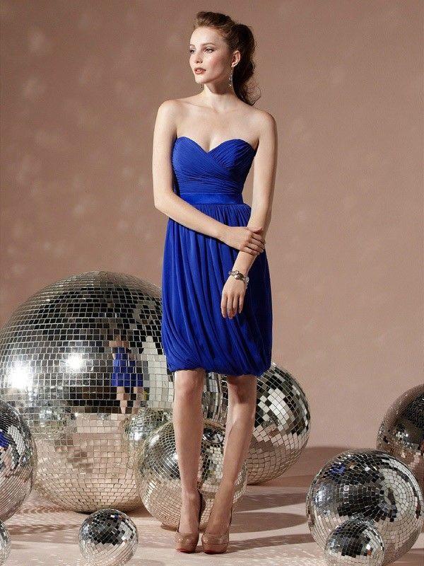 Etui-Kleid Königsblau Herzform Knielänge Chiffon