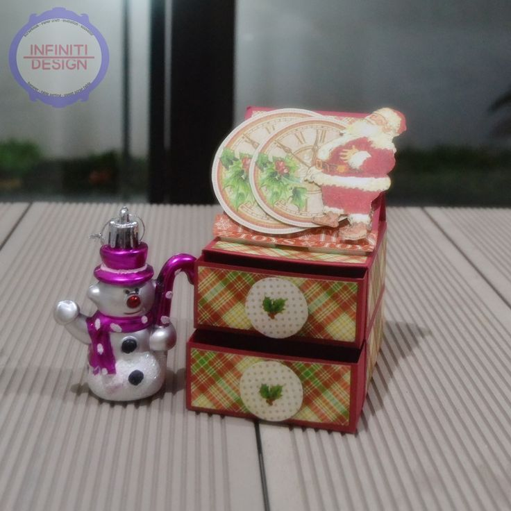 """easel card and 2 storage drawer using G45 paper pad """"Twas The Night Before Christmas"""""""