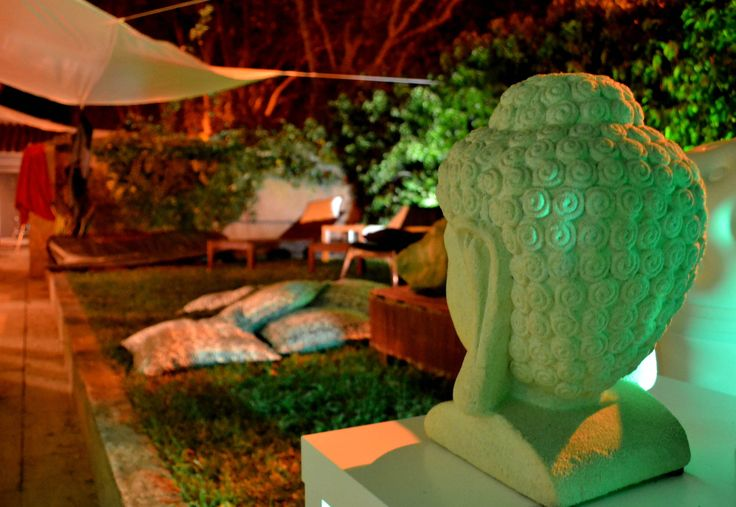 Garden; Outside area; Buddha; Pillows; Lounge; Summer; Night