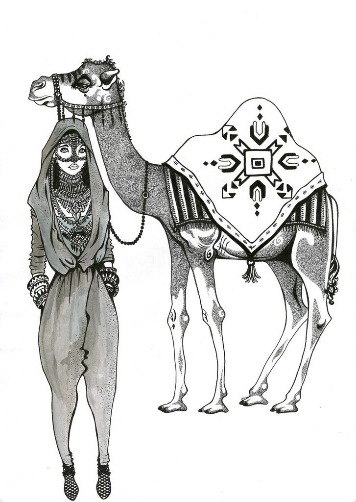 Kunst plakat // Limited edition art print // 'Camel Lady'by Ida Svenungsson