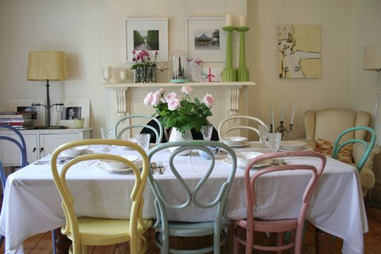 pastel dinning chairs. I love the mix of chairs and colours, very Monica's apartment.