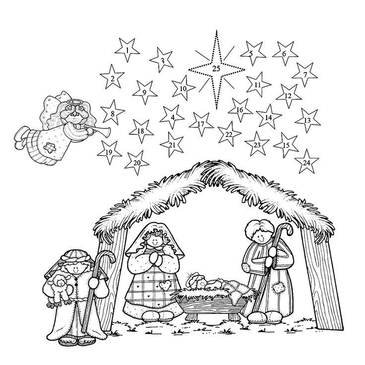 leuk voor kleurplaatadventkalender kerststal