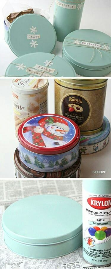 Very simple DIY (gift) boxes. Just paint your ugly tin cookie jar!