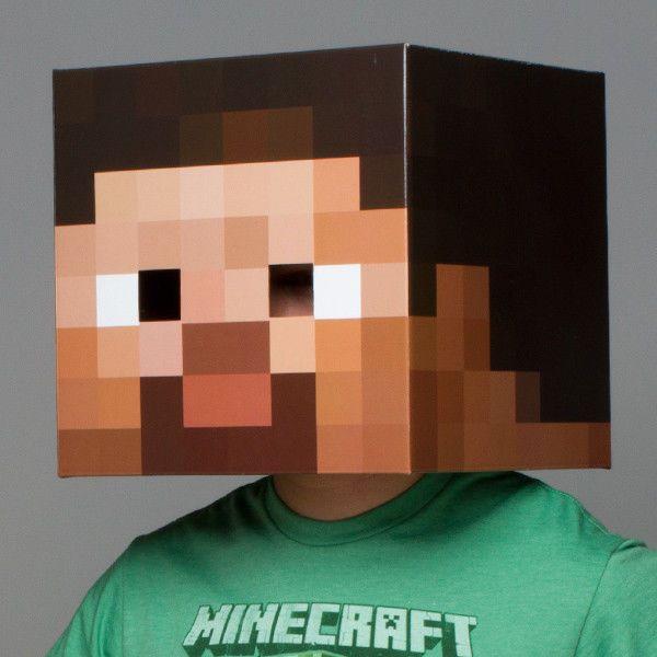 Minecraft Steve Head Costume Mask Boys Kids Mine Craft College Party Video Game