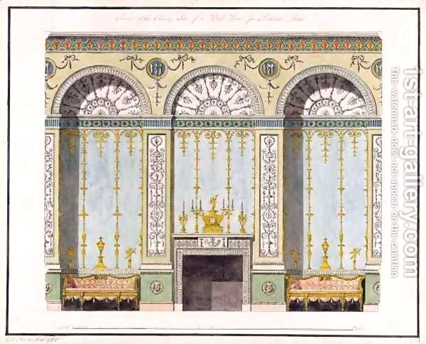 Design for one wall of a book room Robert Adam   Oil Painting Reproduction   1st-Art-Gallery.com