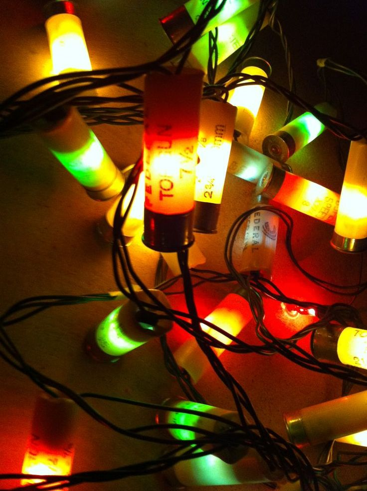 DIY Shotgun Shell Christmas String Lights...definitely a good way to recycle those used shotgun shells!!