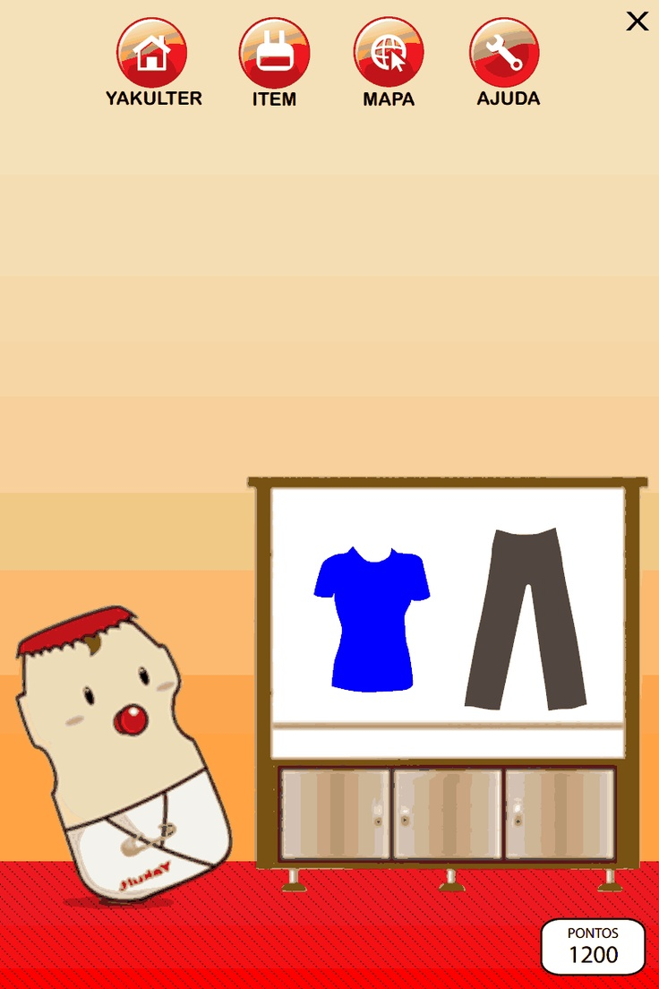 Interface do jogo Yakultlandia ( Guarda roupa ) - Projeto Hipermídia