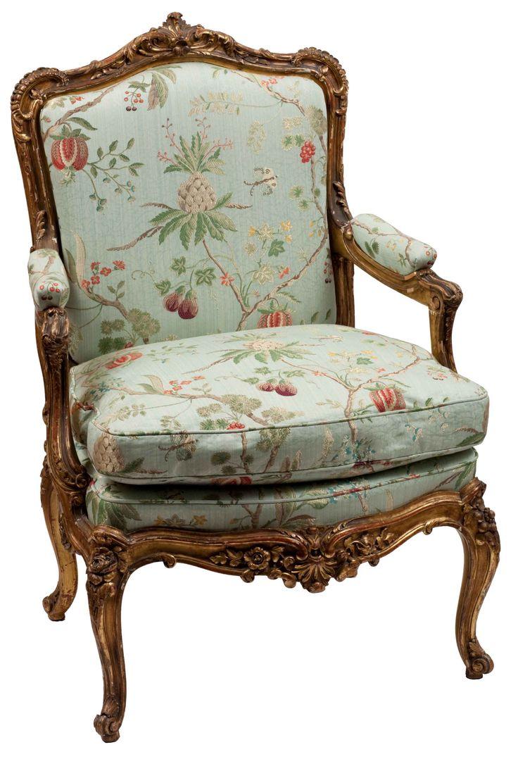 Single Louis XV Style Gilt Frame Arm Chair