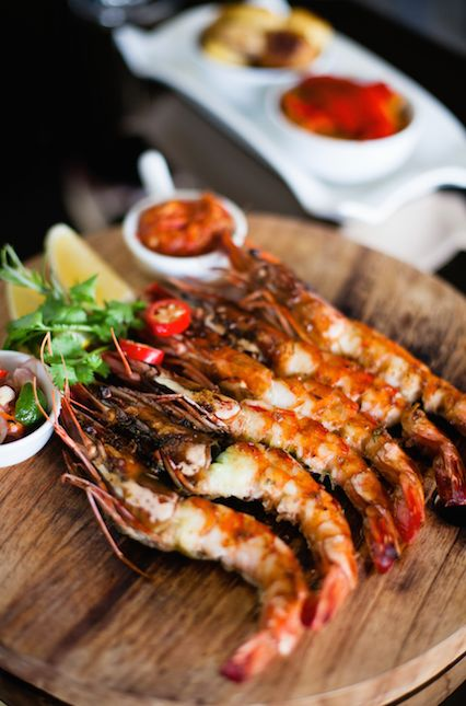Main of the week: Roasted King Prawns Brushed with a Garlic, Lemon and Mustard Sauce - served with roast potatoes & grilled Mediterranean vegetables. #midweektreat