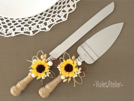 Sunflower Wedding Cake Cutting Set, Sunflower Rustic Country Outdoor Wedding