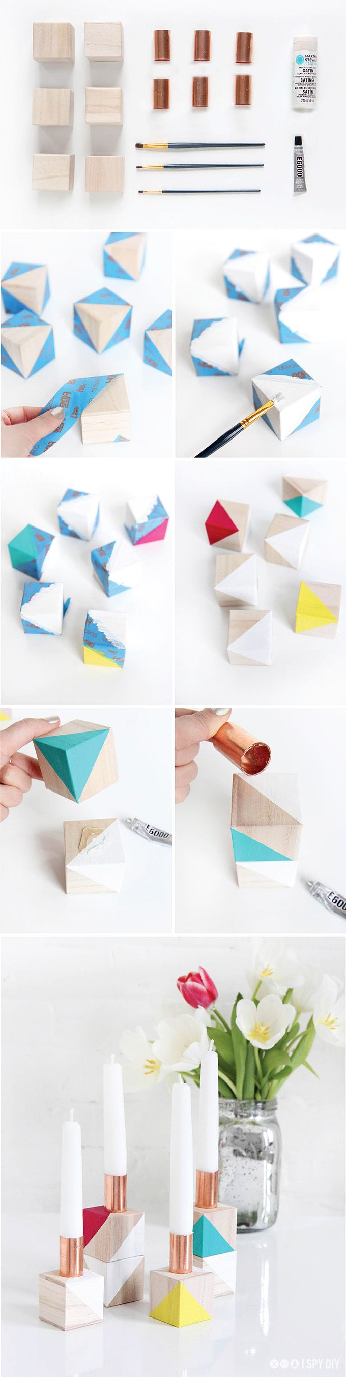 Block off some time with weekend to make fun colorblock candlestick holders!