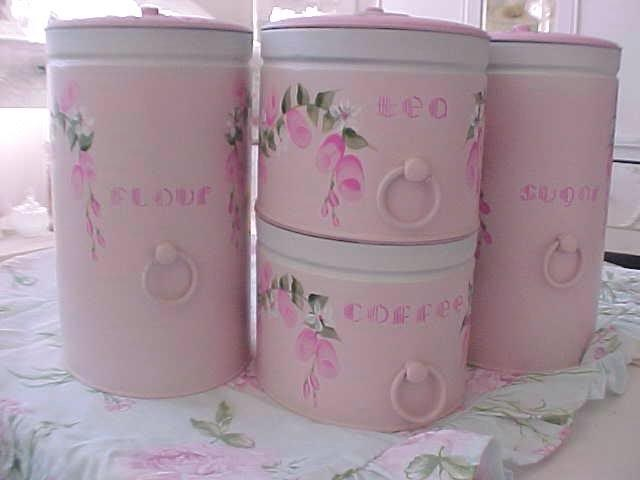 VINTAGE TIN CANISTER SET HAND PAINTED PINK ROSES   COFFEE TEA FLOUR SUGAR