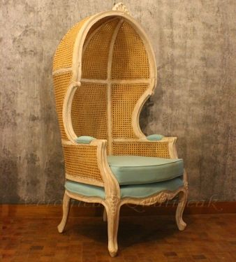 Antique Mahogany Canopy Chair With Woven Cane