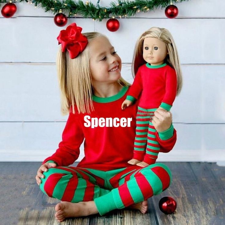 Green & Red Kids Customized Matching Christmas Pajamas - 2 Pc Kids Pajamas - 2 Pc Christmas Kids PJs - Sibbling Matching PJS