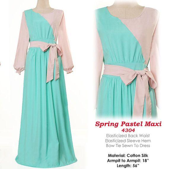 US$28 Pastel Colors Soft Cotton Abaya Muslim Islamic Long Sleeve Maxi by MissMode21 FREE SHIPPING WORLDWIDE!!