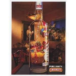 1993 Smirnoff Vodka Bottle Pure Party Print Ad (22359):