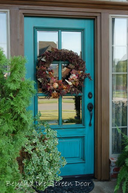 Turquoise Front Door | Beyond the Screen Door