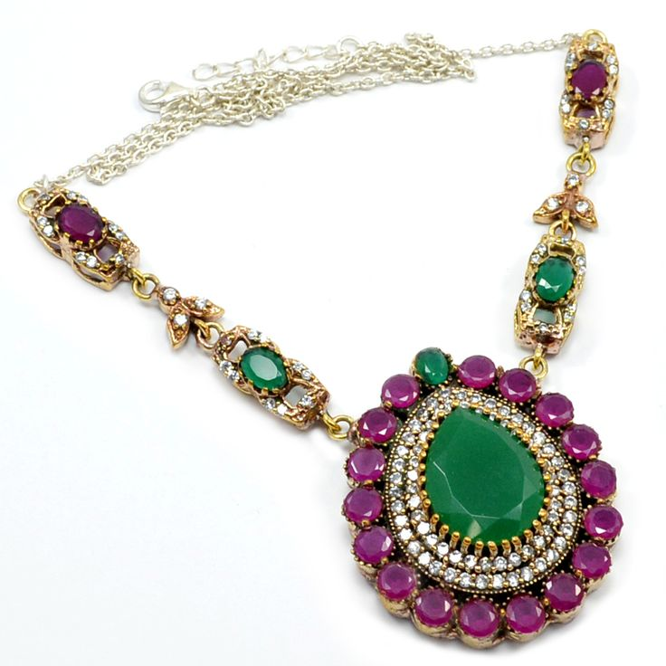 Silvestoo India Ruby,Emerald White Topaz (Lab) 925 Sterling Silver With Bronze Pendant Necklace PG 7129  https://www.amazon.ca/dp/B01H4VDOMI