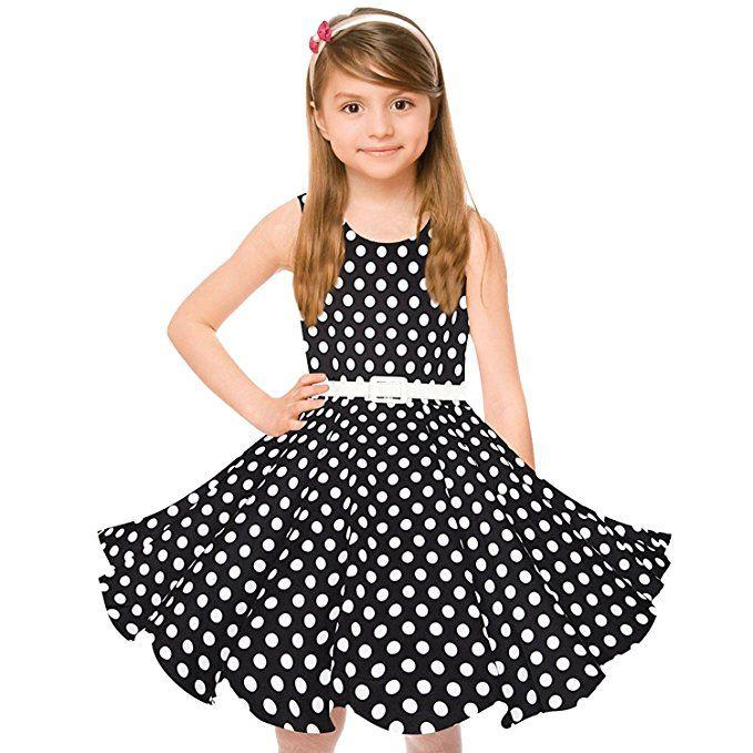 HBBMagic HBBMagic Maedchen Audrey 1950er Vintage Baumwolle Kleid Hepburn  Stil Kleid Blumen Kleid Tupfen Kleid Kleider 23ce1558a8