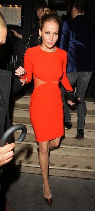 Jennifer Lawrence seen here leaving Nozomi restaurant in Knightsbridge, London wearing a short red dress.
