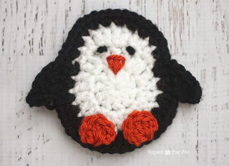 Repeat Crafter Me: P is for Penguin: Crochet Penguin Applique Free Crochet Pattern.