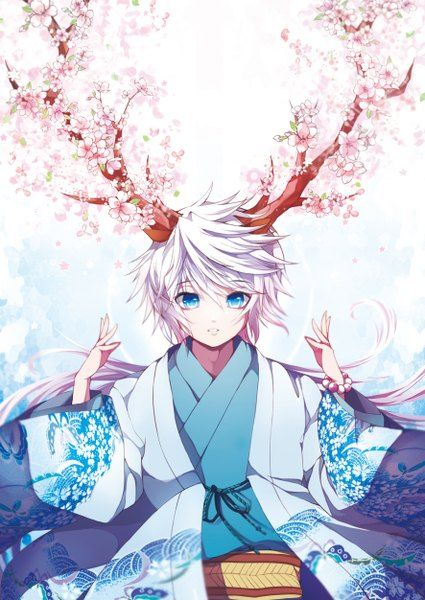Anime boy with white hair, blue, eyes, traditional clothing, yukata, cheery blossoms, horns