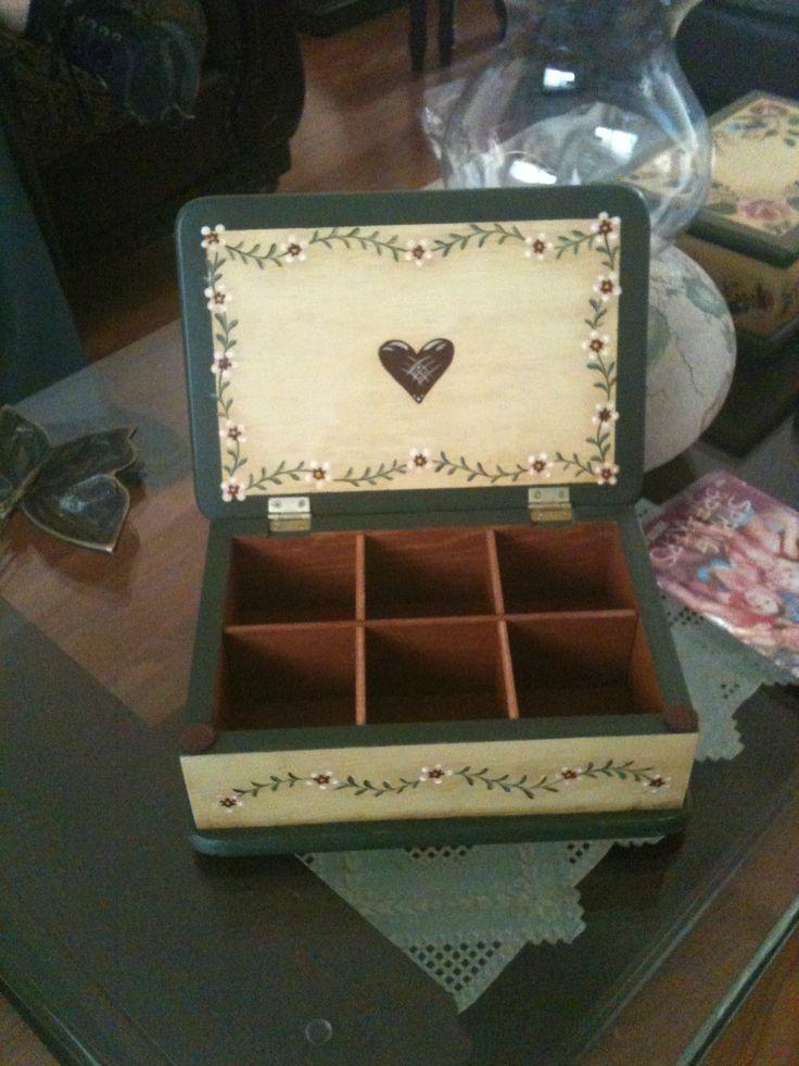 Interior de la caja de te, para mi hermana Luz María.
