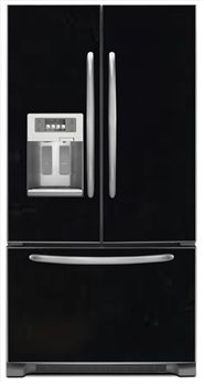 Gloss Black Magnetic French Door Refrigerator Covers | Black Magnet Skins, Covers and Panels are BIG magnetic sheets that cover Fridge Appliances | SALES DISCOUNT NOW! | Beautiful Black Appliance Art | Decorative Black