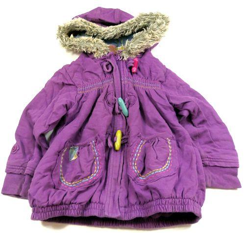 BRUMLA.CZ – Značkový dětský a dospělý second hand a outlet, použité oděvy pro děti a dospělé - Fialová oteplená propínací mikina s kapucí zn. Next