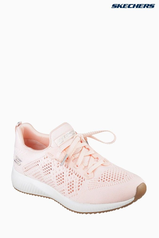 Womens Skechers Pink Bobs Squad Ring Master Open Weave Engineere