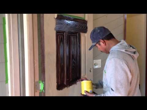 How to gel stain a fiber glass door to make it look just like it was a wood door.  What stain to use, how to apply the gel stain, and what protective coating to use over the gel stain.  We used Minwax gel stain and Helmsman spar urethane clear coat.    If you have found our videos helpful, you can donate to the making of new videos.  Send any dona...