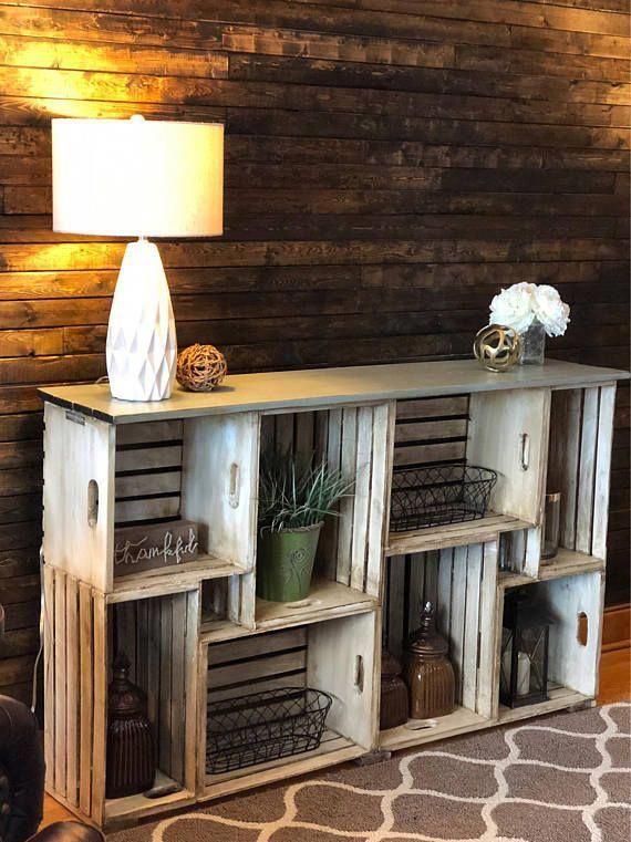 Rustikales Bauernhaus-Kisten-Bücherregal Kundenspezifische Größe #NiceWoodworkingTipsHomemade   – Akzente für die Inneneinrichtung