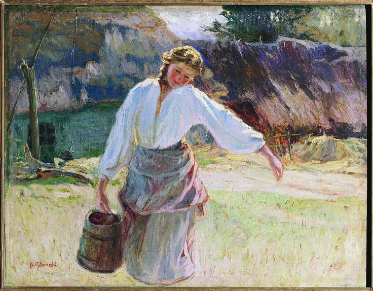 "The Old Oaken Bucket - by Apoloniusz Kedzierski (b. 1861); oil on canvas; donated by friends in memory of ""Wladzia"" Alice Aszurkiewicz, 1969."