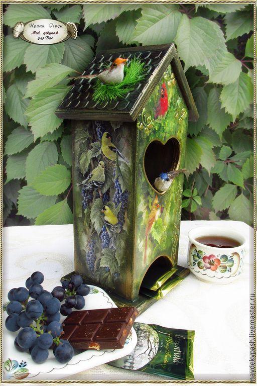 """Чайный домик """"Райский сад"""" - чайный домик, чайный домик декупаж, домик для чая Tea houses and boxes handmade"""