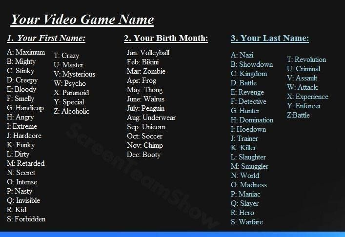 What's your video game name? | Name games | Pinterest ...