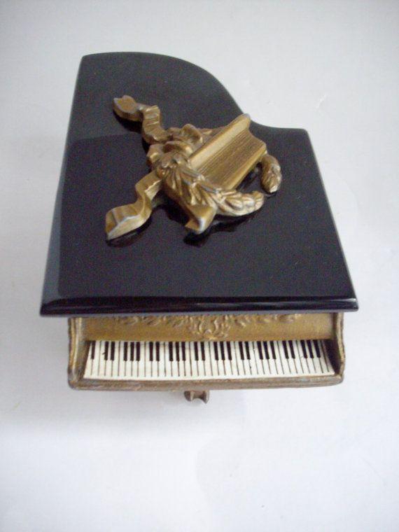 Vintage Music Box Cast Grand Piano Gold Gilt Victorian Decor