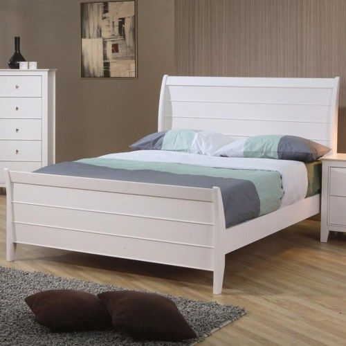 Coaster Selena Twin Sleigh Bed with Panel Detail - Coaster Fine Furniture