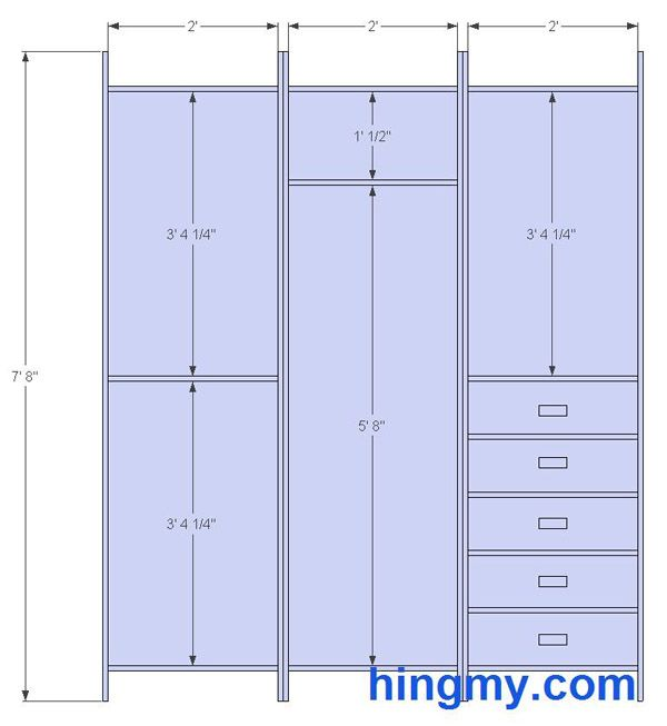 Standard Closet Measurements This Design Is Meant Be As Versatile As Possible It Offers The