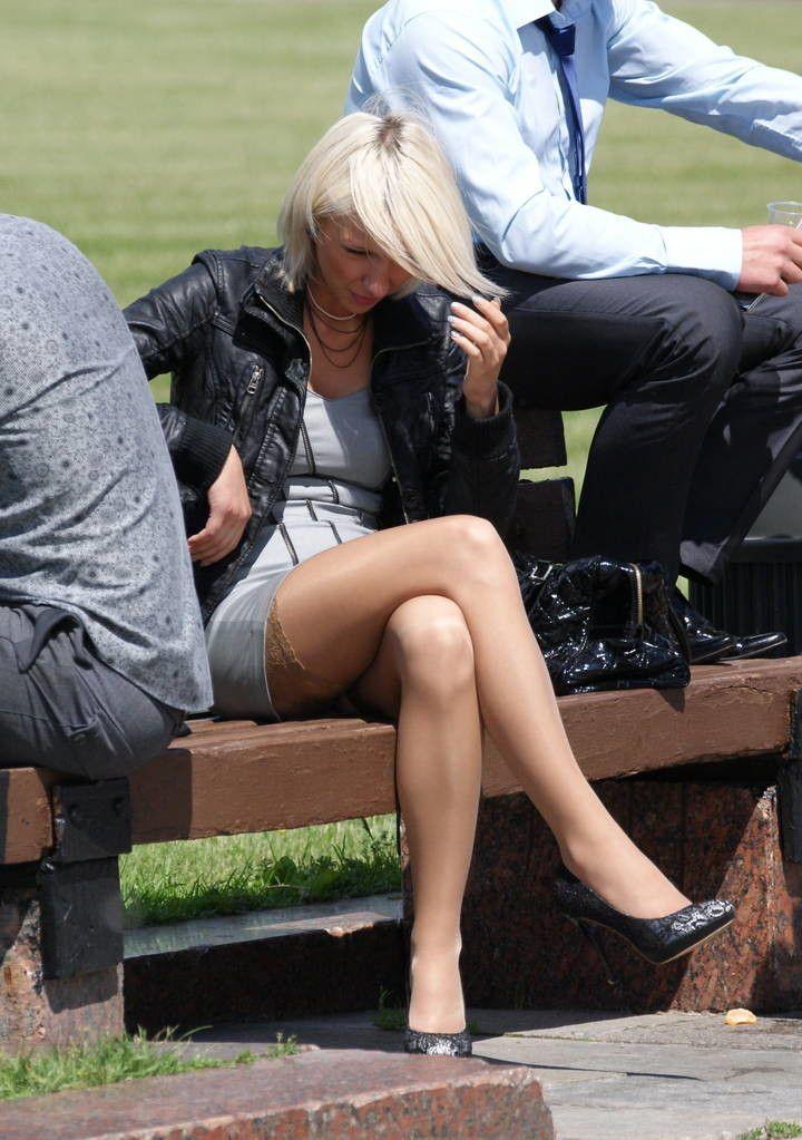 Celebrities Showing Nylon Stocking Tops 9