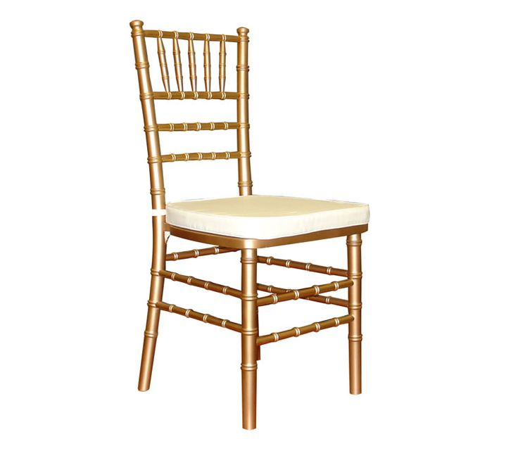 Gold Chiavari Chairs with white cushion- available for rent from R5 Event Design!