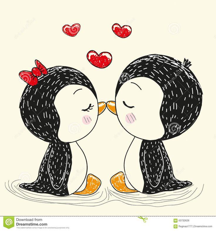 Dois Pinguins Bonitos Ilustração do Vetor - Imagem: 63732626
