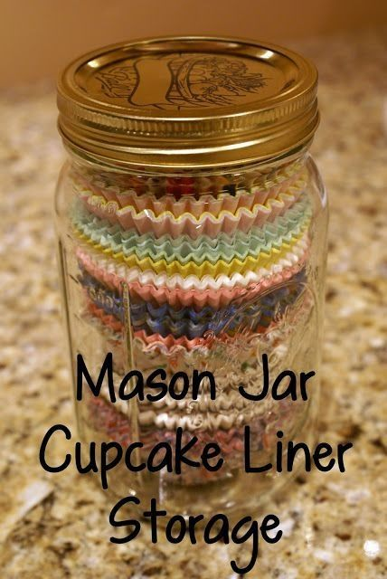 Mason Jar Idea!---nice way to corral those paper cupcake liners.