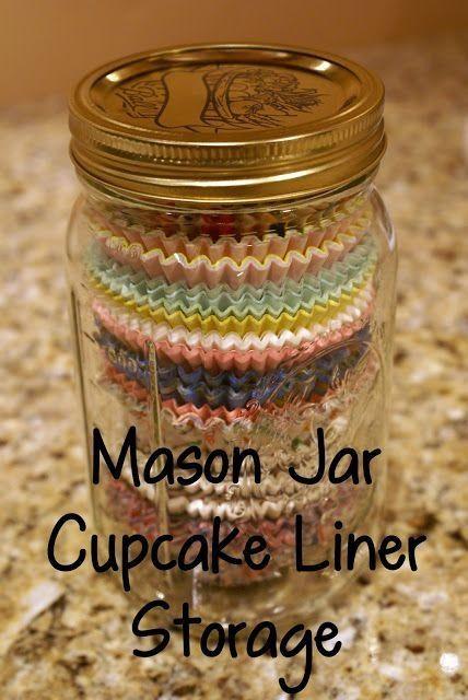 Mason Jar Idea!---nice way to corral those paper cupcake liners.