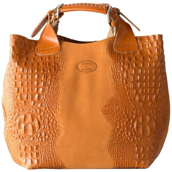 Sharo Apricot Italian Leather Handbag Tote 175 Liked On Polyvore Featuring Bags