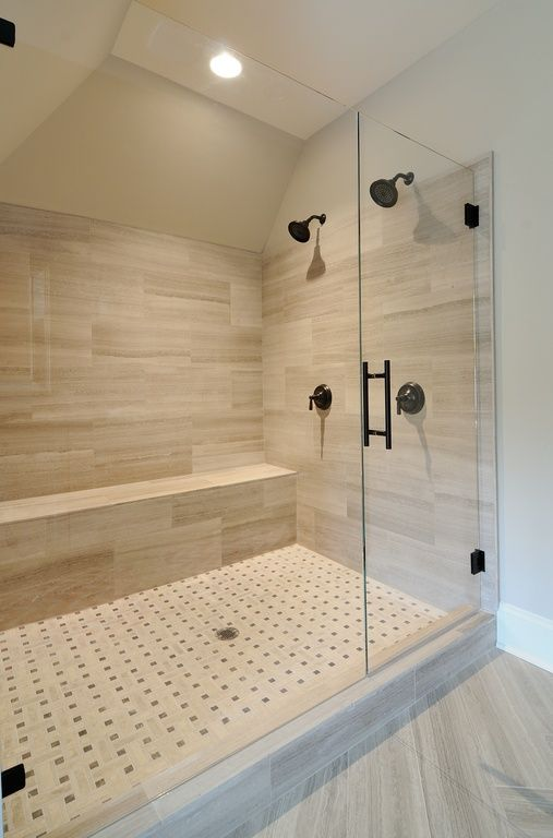 Contemporary 34 Bathroom with Standard height Shower