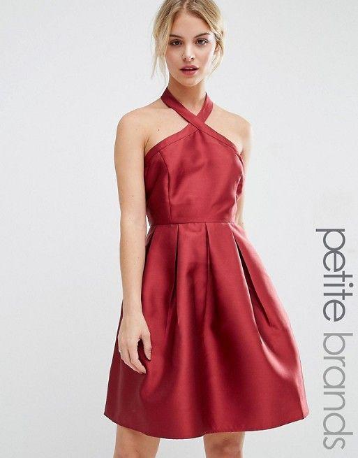 Vero Moda Petite   Vero Moda Petite Satin Halterneck Dress